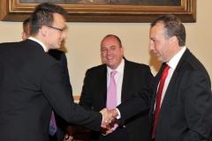 Szijjártó Péter (kijelölt külgazdasági és külügyminiszter), Matej Zavrl (HTA elnöke) , Morenth Péter (HTA ügyvezető elnöke)